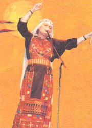 Reem Kelani performing at the Place des Artes at an event held by the General Union of Palestinian Canadian Women